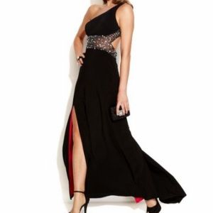 Betsy & Adam Embellished Illusion Gown size: 2